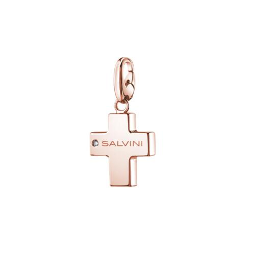 """SALVINI """"CHARMS OF LOVE"""" PENDANT IN PINK SILVER WITH DIAMOND"""